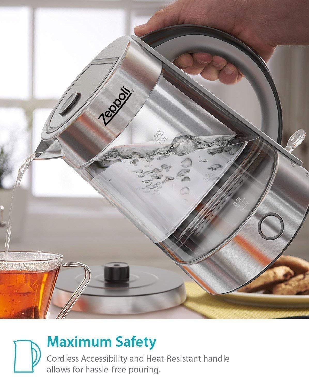 Buy Zeppoli Electric Kettle Bpa Free Fast Boiling Glass